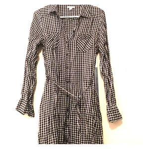 Checkered Button Down Shirt Dress